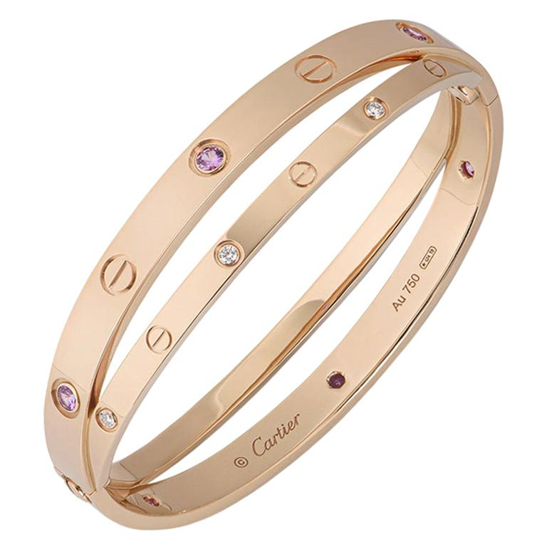 Cartier Rose Gold Half Diamond and Pink Sapphire Love Bracelet N6705917 For Sale