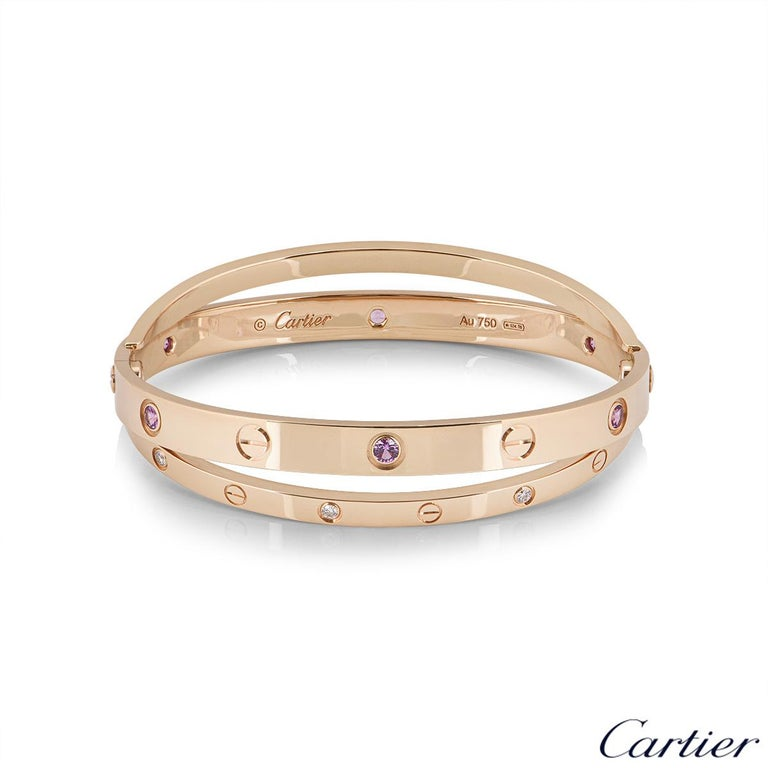 Round Cut Cartier Rose Gold Half Diamond and Pink Sapphire Love Bracelet N6705917 For Sale