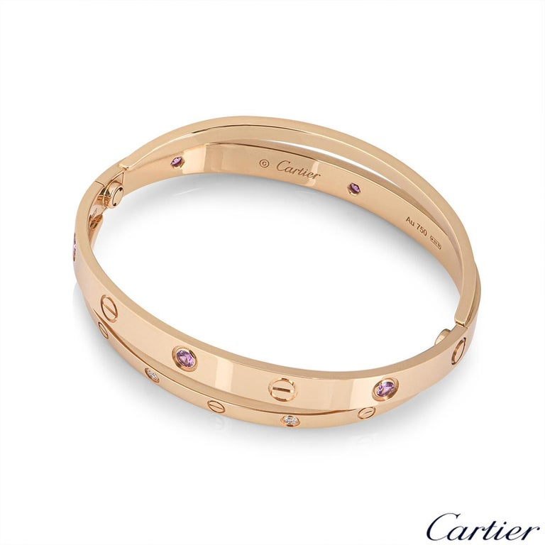 Cartier Rose Gold Half Diamond and Pink Sapphire Love Bracelet N6705917 In Excellent Condition For Sale In London, GB