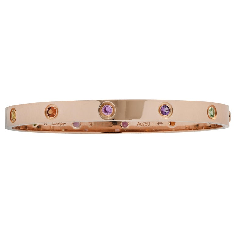 Round Cut Cartier Rose Gold Love Bangle with Sapphires, Garnets and Amethysts For Sale