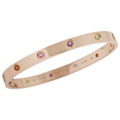 Cartier Rose Gold Love Bangle with Sapphires, Garnets and Amethysts