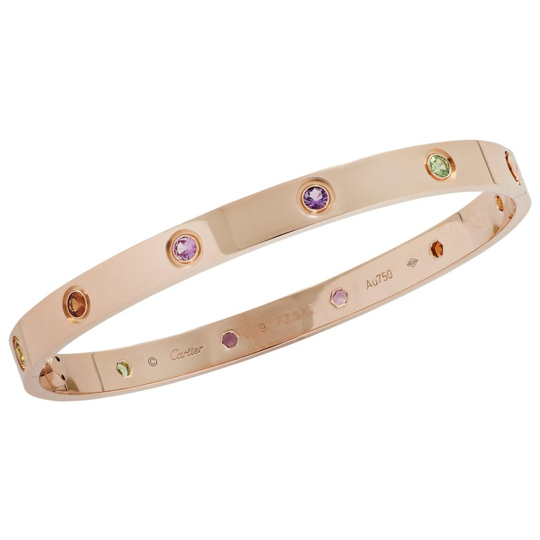 Cartier Rose Gold Love Bangle with Sapphires, Garnets and Amethysts For Sale