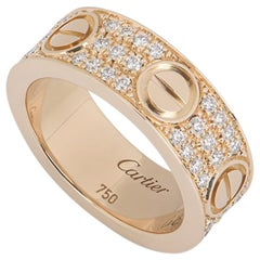 Cartier Rose Gold Pave Diamond Love Ring B4087600