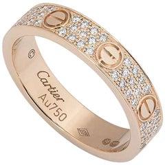 Cartier Rose Gold Pave Diamond Wedding Love Ring B4085800
