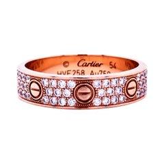 Cartier Rose Gold Pave Diamond Wedding Love Ring CRB4085854