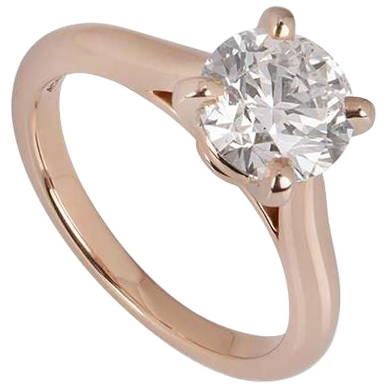 Cartier Rose Gold Solitaire 1895 Diamond Ring 1.64 Carat GIA Certified