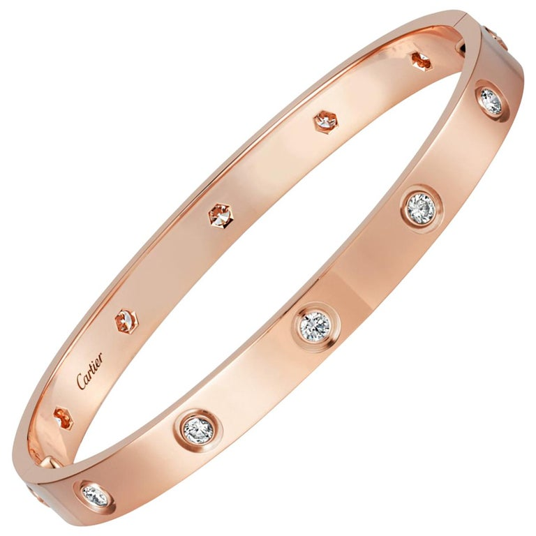 Cartier Rose Gold Ten-Diamond Love Bracelet New Screw System For Sale