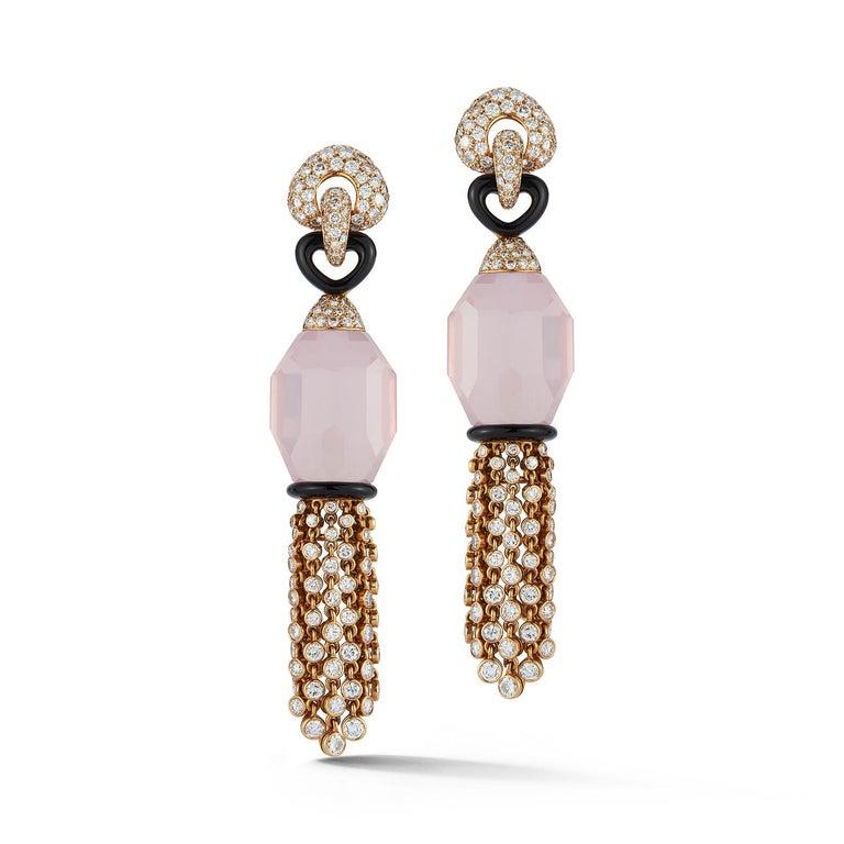 Cartier Rose Quartz Diamond Tassel Earrings  Two rose quartz set with a black onyx link and diamond tassels Measurements: 3
