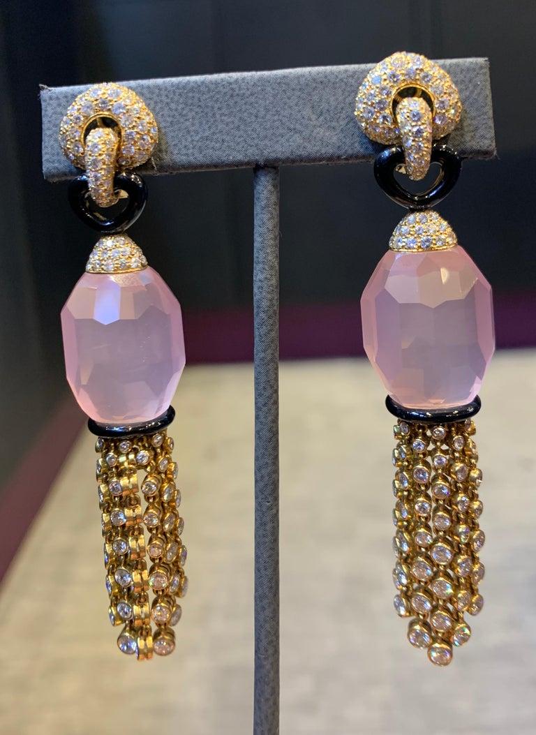 Round Cut Cartier Rose Quartz Diamond Tassel Earrings For Sale