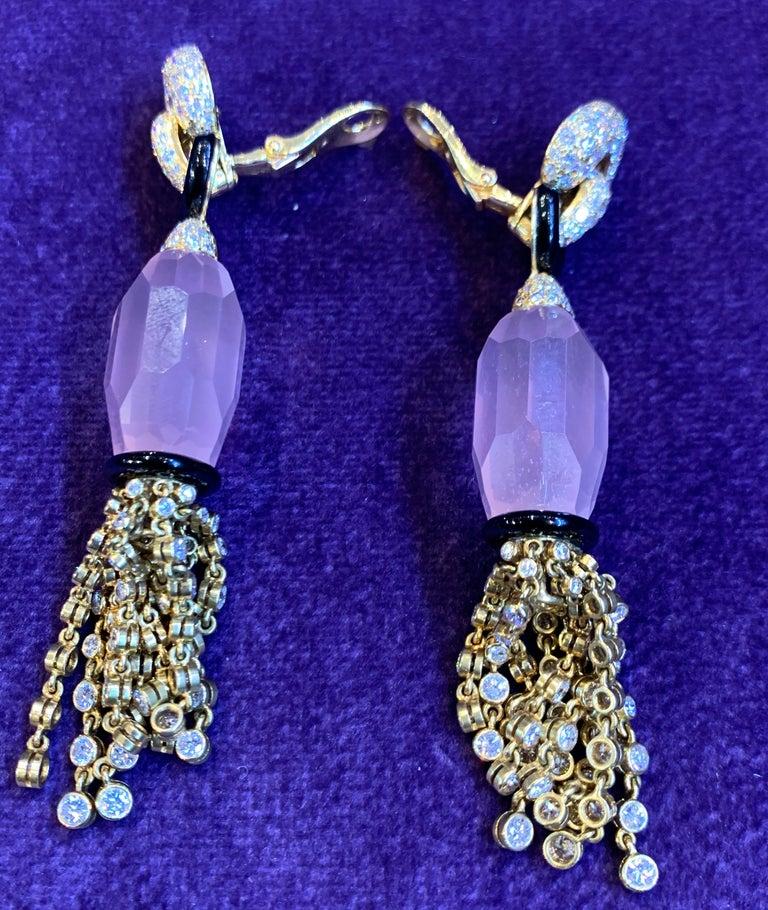 Women's Cartier Rose Quartz Diamond Tassel Earrings For Sale