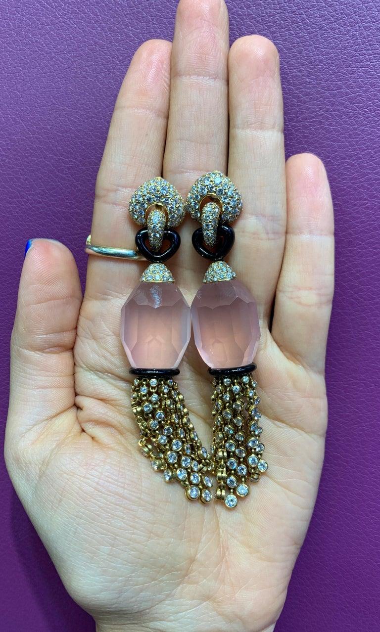 Cartier Rose Quartz Diamond Tassel Earrings For Sale 2