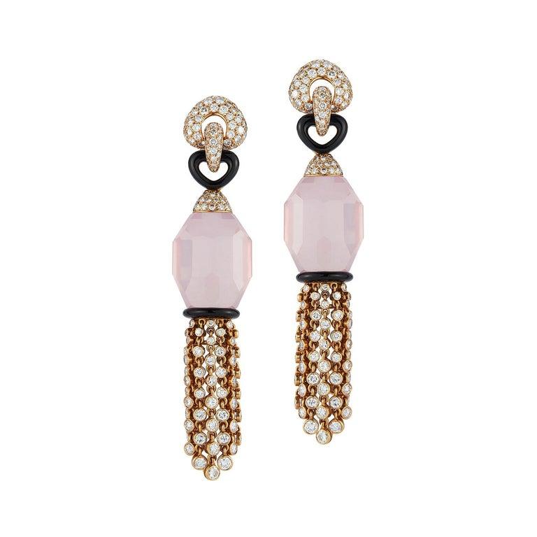 Cartier Rose Quartz Diamond Tassel Earrings For Sale