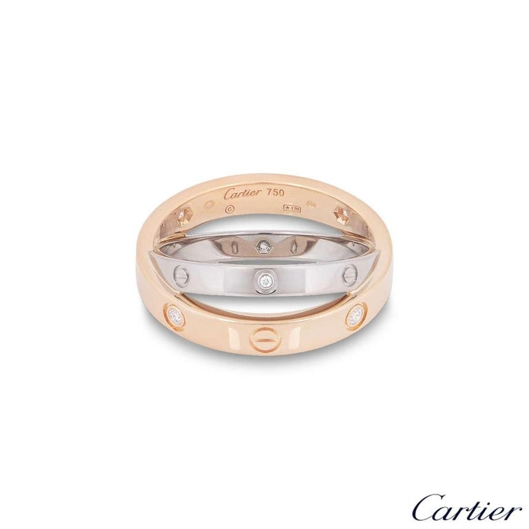 Round Cut Cartier Rose and White Gold Half Diamond Love Ring B4094300 For Sale