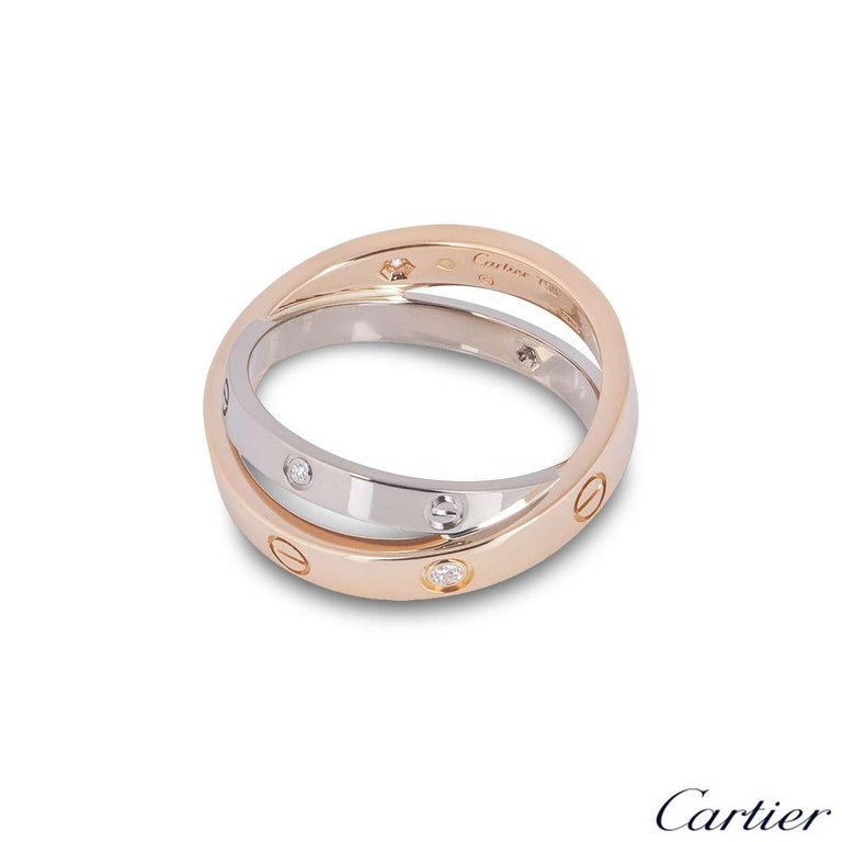 Cartier Rose and White Gold Half Diamond Love Ring B4094300 In Excellent Condition For Sale In London, GB