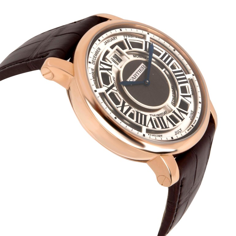 Cartier Rotonde Annual Calendar W1580001 Men's Watch in 18 karat Rose Gold In Excellent Condition For Sale In New York, NY