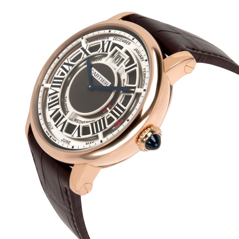 Cartier Rotonde Annual Calendar W1580001 Men's Watch in 18 karat Rose Gold For Sale 1