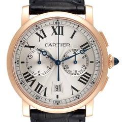 Cartier Rotonde Chronograph 18k Rose Gold Mens Watch W1556238 Box Card
