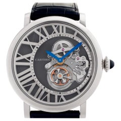 Cartier Rotonde W1556214 18 Karat White Gold Skeleton Dial Manual Watch