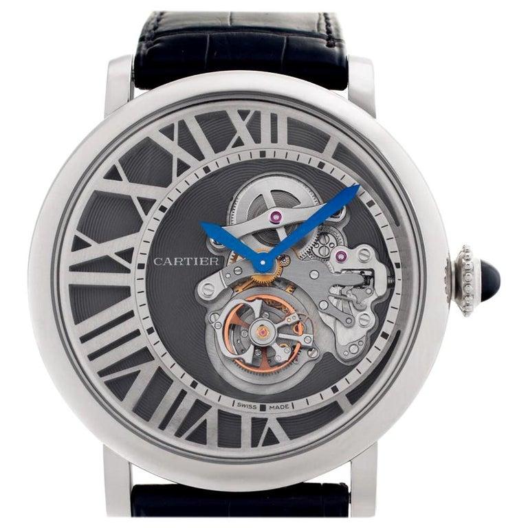 Cartier Rotonde W1556214 18 Karat White Gold Skeleton Dial Manual Watch For Sale