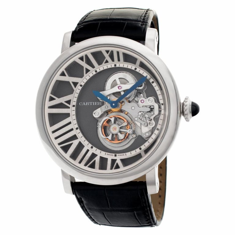 Cadran Love Rotonde de Cartier Reversed Dial Tourbillon with 18K white gold case, beaded crown set with a sapphire cabochon, slate-colored galvanized guilloché dial, 18K white gold grid in the form of Roman numerals, circular satin finish,