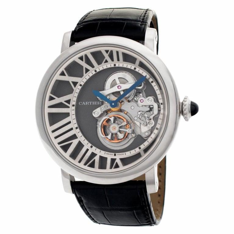 Modern Cartier Rotonde W1556214 18 Karat White Gold Skeleton Dial Manual Watch For Sale