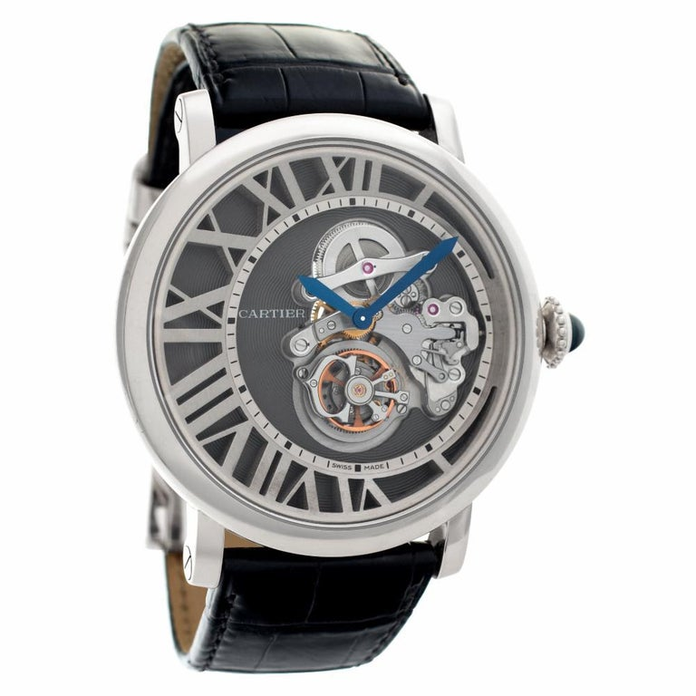 Cartier Rotonde W1556214 18 Karat White Gold Skeleton Dial Manual Watch In Excellent Condition For Sale In Miami, FL