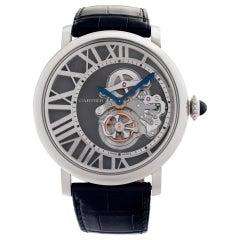 Cartier Rotonde W1556214 18k White Gold Skeleton Dial Manual Watch