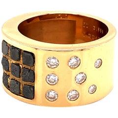 Cartier Rough Diamond Ring Wide Band 18 Karat Yellow Gold
