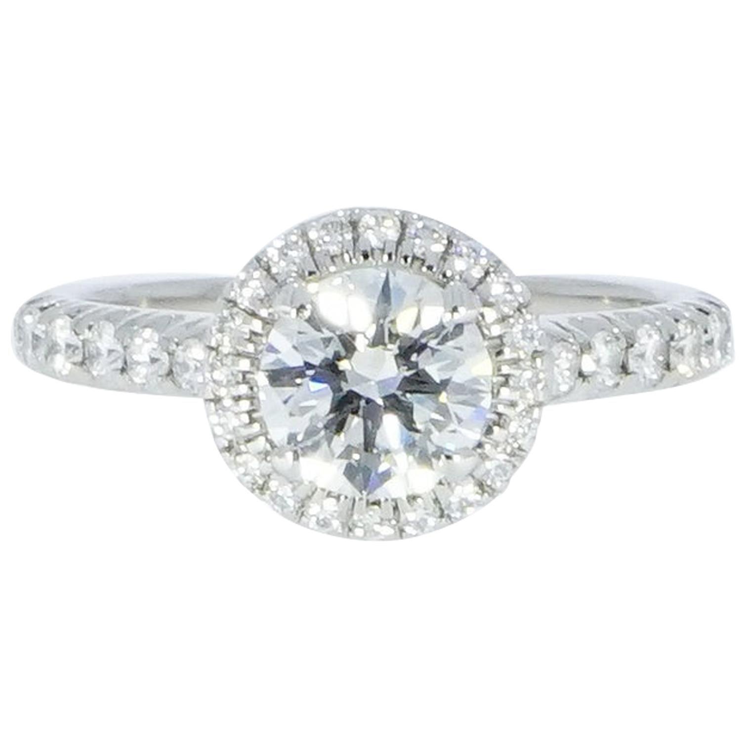 Cartier Round Diamond Halo Platinum Engagement Ring