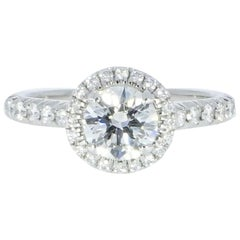 Cartier Round Diamond Halo Platinum Engagement Ring