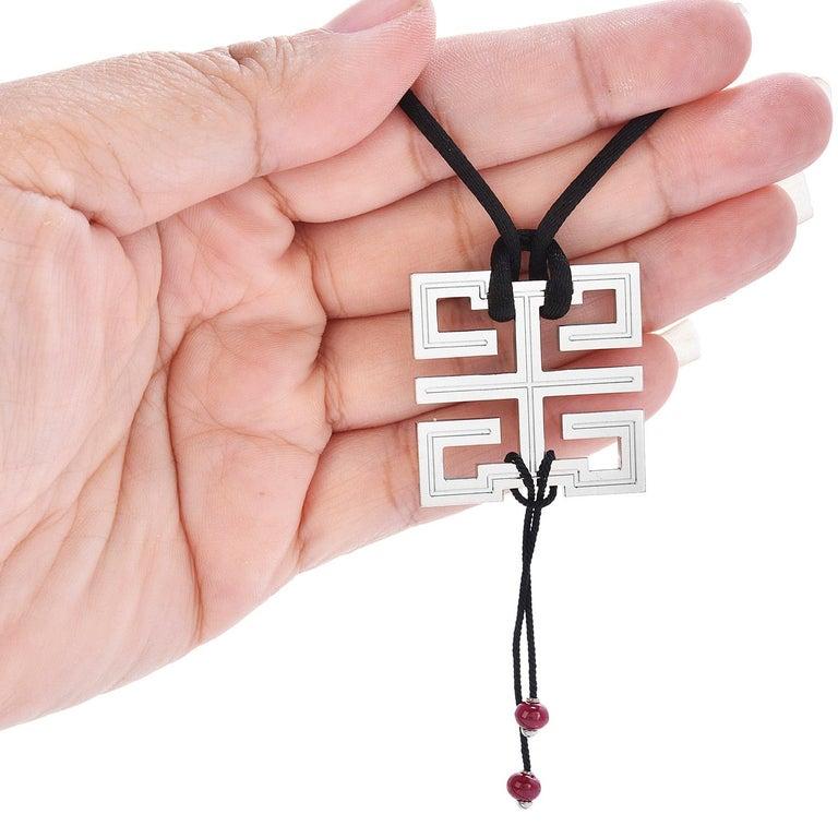 Cabochon Cartier Ruby 18k White Gold Le Baiser Du Dragon Pendant Cord Necklace For Sale