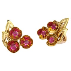Cartier Ruby and 18 Karat Yellow Gold Flower Earrings, circa 1940s