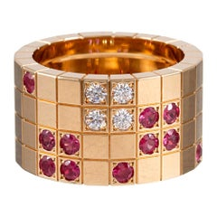 """Cartier Ruby and Diamond """"Block"""" Ring"""