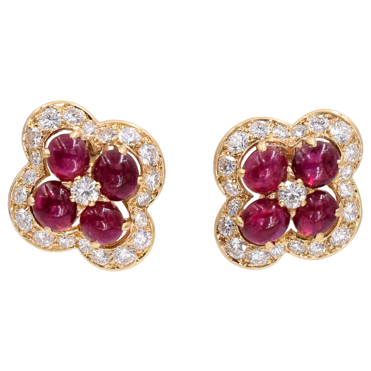 Cartier Ruby and Diamond Ear-Clips French
