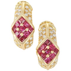 Cartier Ruby and Diamond Earrings, 18 Karat Yellow Gold