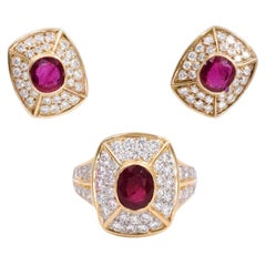 Cartier Ruby and Diamond Earrings and Ring Set