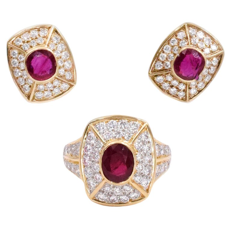 Cartier Ruby and Diamond Earrings and Ring Set For Sale