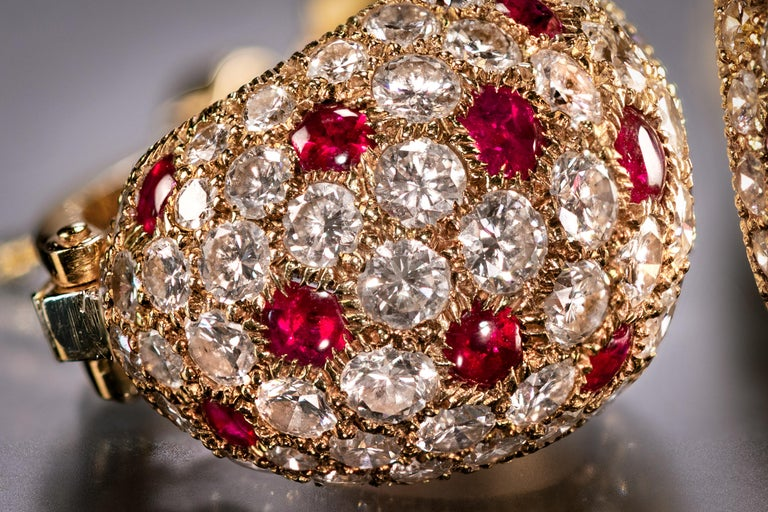 Round Cut Cartier Ruby and Diamond Earrings For Sale