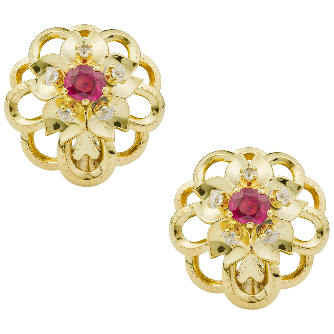Cartier Ruby and Diamond Flower Earrings