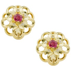 Cartier Ruby and Diamond Flower Earrings