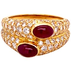 Cartier Ruby and Diamond Ring in 18 Karat Yellow Gold