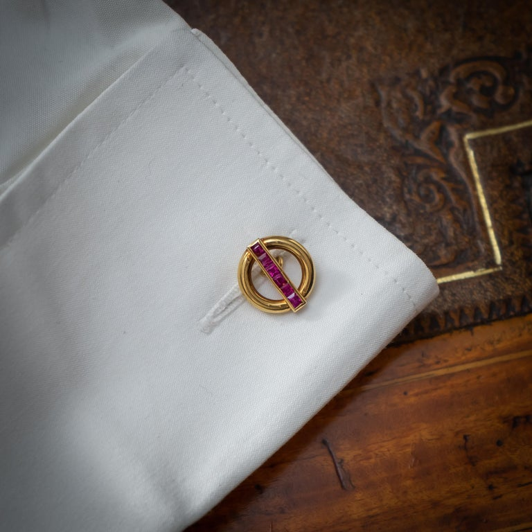 Square Cut Cartier Ruby and Gold Cufflinks For Sale