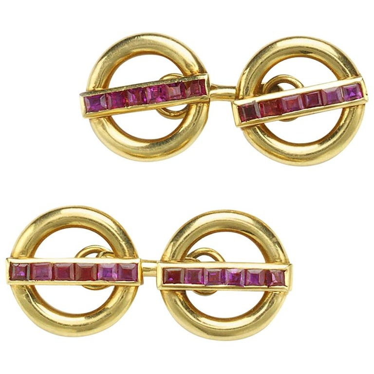 Cartier Ruby and Gold Cufflinks For Sale