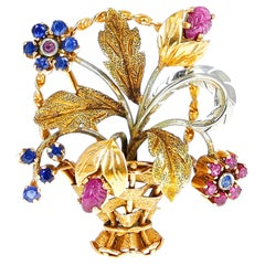Cartier Ruby and Sapphire Flower Bouquet Brooch, 18 Karat Two Tone Gold