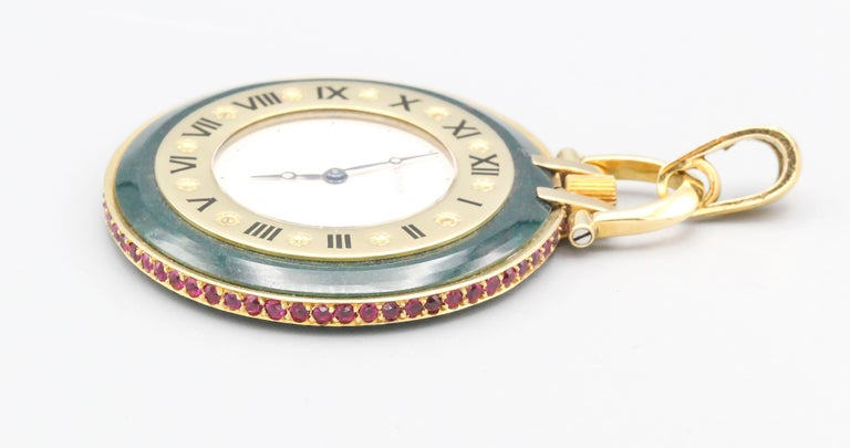 Cartier Ruby Bloodstone and 18 Karat Gold Pocket Watch For Sale 1
