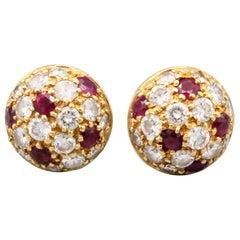 Cartier Ruby Diamond 18 Karat Gold Dome Earrings Studs