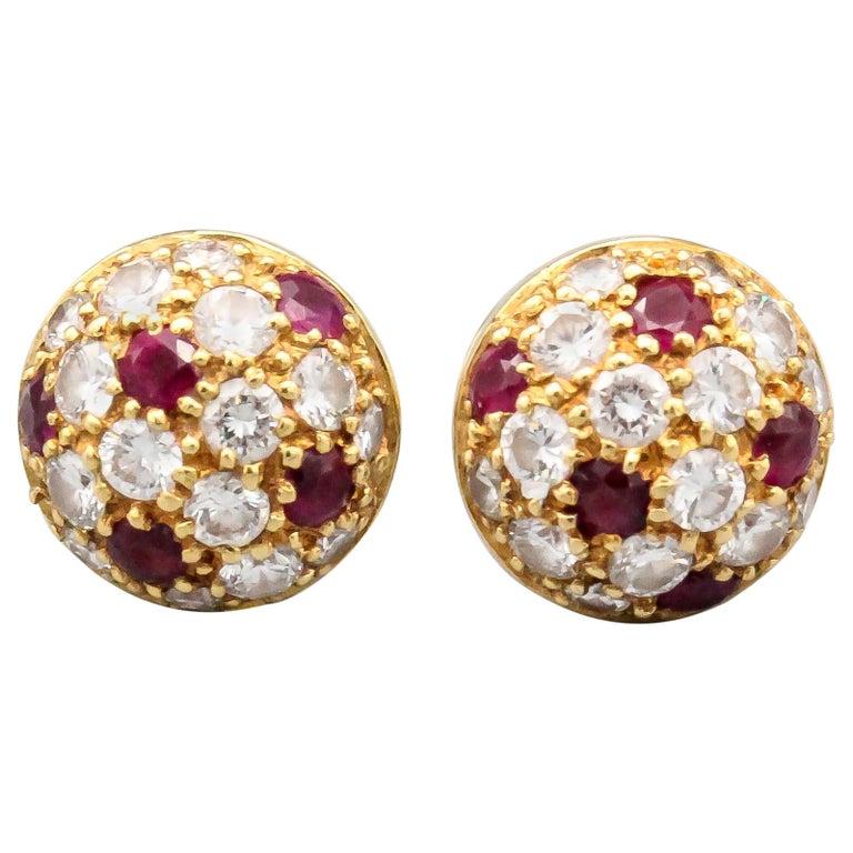 Cartier Ruby Diamond 18 Karat Gold Dome Earrings Studs For Sale