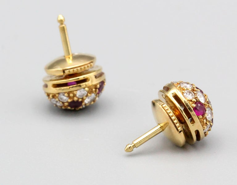 Round Cut Cartier Ruby Diamond 18 Karat Gold Dome Earrings Studs For Sale