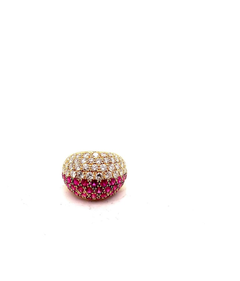 Cartier Ruby Diamond Bombe Gold Ring In Excellent Condition For Sale In New York, NY