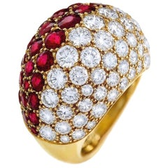 Cartier Ruby Diamond Bombe Gold Ring